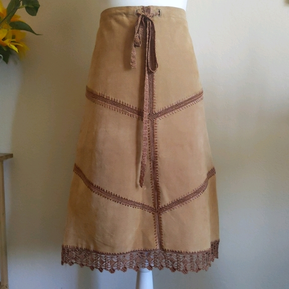 Y2K Spoiled Girl Suede Leather A-Line Skirt